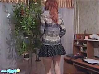 Amateur European Redhead Skirt Teen