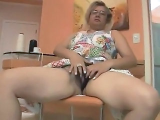 Glasses Granny Hairy Masturbating Panty