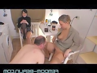 Licking MILF Stockings Threesome