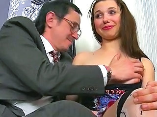 Cute Daddy Doggystyle Old and Young Teacher Teen