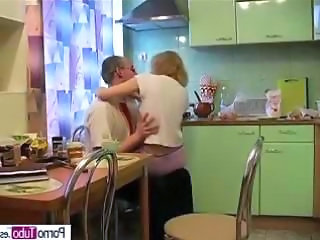 Daddy Daughter Kitchen Old and Young Teen