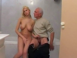 Bathroom Big Tits Handjob Old and Young