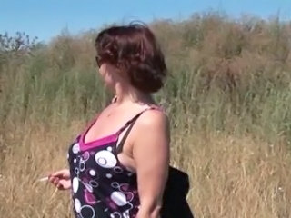 BBW Mature Outdoor Smoking