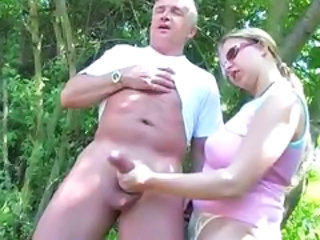 Chubby Daddy Daughter Handjob Mature Old and Young Outdoor
