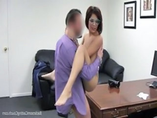 Amateur Casting Glasses Office Teen