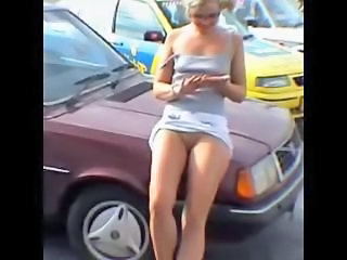 Amateur Car Girlfriend Outdoor Public Teen Upskirt