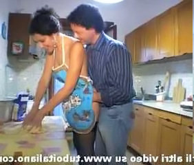 European Italian Kitchen MILF Wife