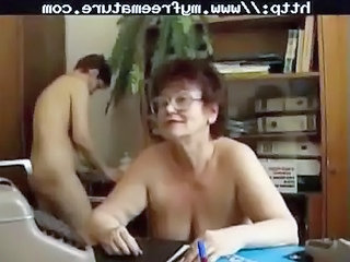 Granny Nudist Office