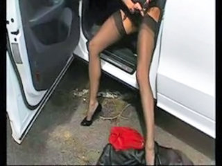 Amateur Car Lingerie Stockings