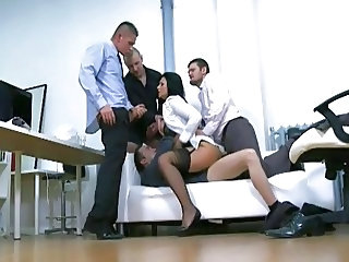 Double Penetration Gangbang Office Stockings