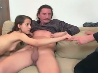 Daddy Daughter Family Old and Young Teen Threesome