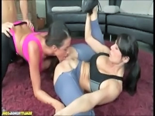 Clothed Licking MILF Sport Threesome