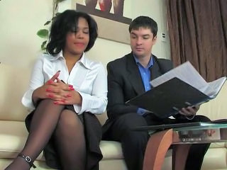 Ebony Interracial Mature Old and Young Secretary Stockings