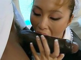 Asian Big cock Blowjob Interracial Japanese Maid MILF