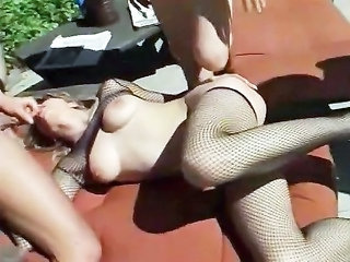 Blowjob Fishnet Threesome