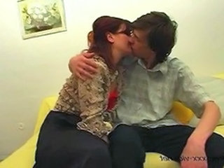 Glasses Kissing Mature Mom Old and Young