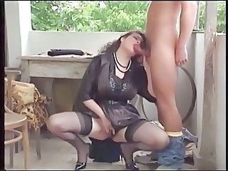 Blowjob MILF Outdoor Stockings
