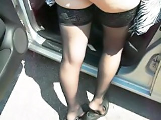 Amateur Car Legs Stockings