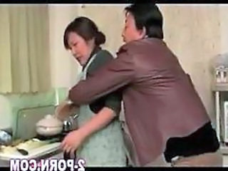 Asian Japanese Kitchen Mature MILF Wife