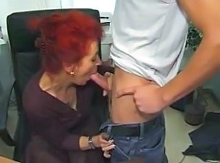 Blowjob Granny Office Redhead