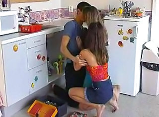 Kissing Kitchen Teen Threesome
