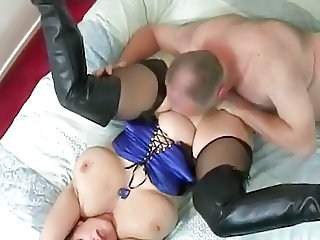 BBW Big Tits Licking MILF Natural Older Stockings