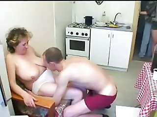 Family Kitchen Mom Old and Young Russian