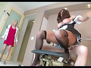 Big Tits Maid MILF Stockings Threesome Uniform