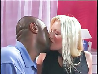 Blonde Interracial Kissing MILF