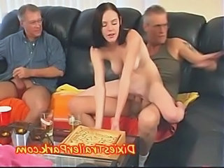 Old and Young Riding Teen Threesome