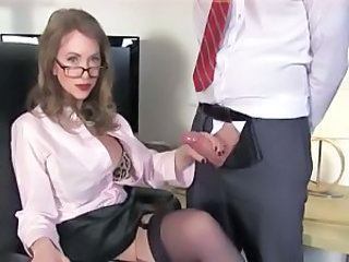 Amazing Glasses Handjob MILF Teacher