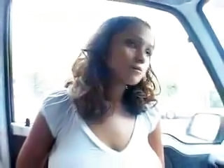 Big Tits Car Outdoor