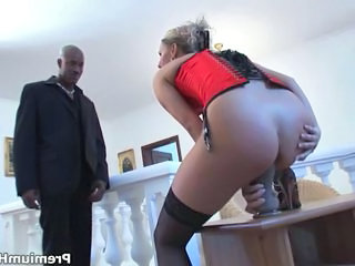 Ass Blonde Corset Dildo Interracial Masturbating Toy