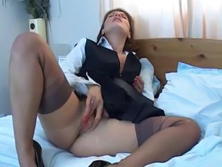 European Masturbating Shaved Stockings