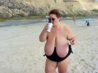 BBW Beach Big Tits Mature Outdoor Public SaggyTits