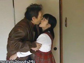 Asian Cute Daddy Daughter Japanese Old and Young Student Teen Uniform