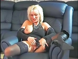 Blonde European German Masturbating Mature Piercing Stockings
