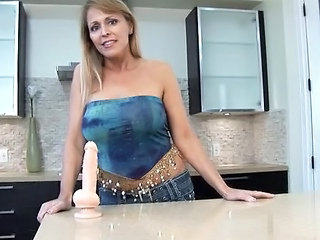 Big Tits Dildo Kitchen MILF Toy
