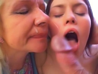 Cumshot Facial Daughter Family Mature Mom Old and Young Teen Threesome