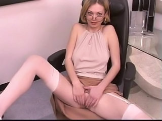Blonde Cute Glasses Mature MILF Stockings