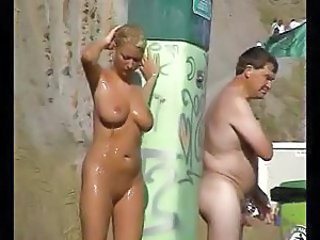 Big Tits Bus MILF Natural Nudist Outdoor Public Showers Voyeur