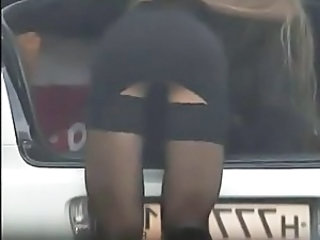 Car Public Stockings Upskirt