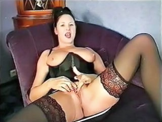 Bus Corset Masturbating MILF SaggyTits Stockings
