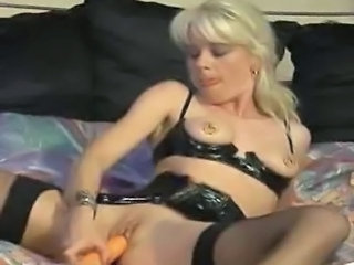 Latex Masturbating MILF Nipples Piercing Stockings Toy