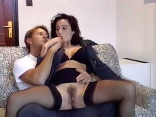 Amazing Brunette Hairy MILF Pornstar Stockings