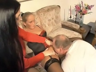 German Lingerie Licking MILF Stockings Threesome Wife