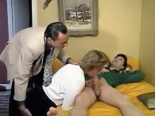 Big cock Blowjob Clothed European French MILF Mom Old and Young Threesome