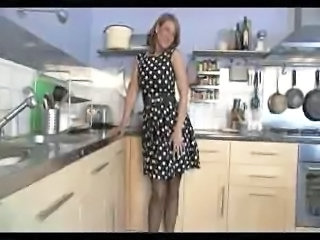 British European Kitchen MILF Solo Stockings