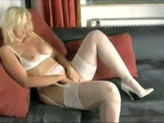Blonde Lingerie Masturbating Mature Mom Stockings