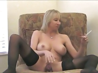Amateur Big Tits MILF Smoking Stockings Toy